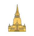 yellow thailand temple - flat isolated icon vector image