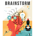 Modern brainstorming process flat line concept art vector image