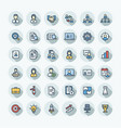 flat color thin line icons set business and vector image