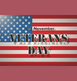 american flag and veterans day label vector image