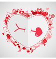 Arrow and Heart Red Valentines Day background vector image