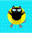 black cat floating on yellow pool float water vector image
