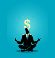 businessman meditates with enlightenment dollar vector image vector image