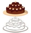 Cake on plate vector image