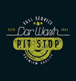 car wash and pit stop emblem vector image vector image