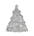 coloring for adults Christmas tree vector image