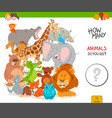 counting cartoon wild animals educational game vector image