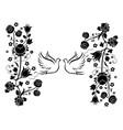 doves with flourishes 3 vector image vector image
