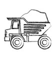 dump truck with load in monochrome blurred vector image