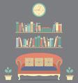 Flat Design Interior Vintage Sofa and Bookshelf vector image vector image