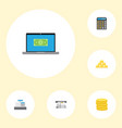 flat icons till teller machine small change and vector image vector image