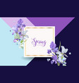 floral spring card with purple iris flowers vector image vector image