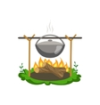 Food Preparing On Bonfire vector image vector image