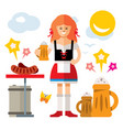 german woman with beer flat style colorful vector image vector image