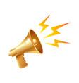 golden vintage megaphone vector image vector image