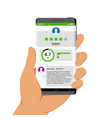 hand holding smartphone with app feedback vector image vector image
