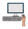hand using desk computer with mouse monitor and vector image vector image