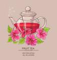 hibiscus tea in teapot vector image