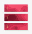 horizontal banner set template with red paper cut vector image