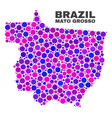 mosaic mato grosso state map of spheric dots vector image vector image