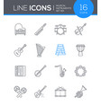 musical instruments - line design style icons set vector image vector image
