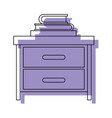 nightstand with stack books purple watercolor vector image