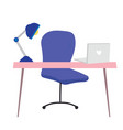 office desk chair laptop and lamp cartoon flat vector image vector image