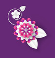 origami flower with foliage and petals vector image vector image