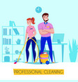 professional cleaning service poster vector image vector image