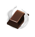 realistic chocolate piece fly in milk cream ring vector image