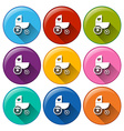 Round buttons with a baby stroller vector image vector image
