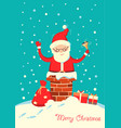 santa claus in chimney in christmas vector image vector image