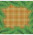 scottish background with christmas tree branch vector image vector image