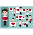 Set of cartoon man in love with hearts Stock vector image vector image