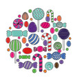 sweet candy round pattern confectionery vector image