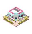 sweet shop outside view isometric vector image vector image