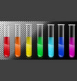 translucent glass tubes with colored liquid vector image vector image