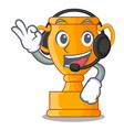 with headphone golden trophy cup isolated on vector image