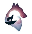 wolf cartoon paper landscape vector image vector image
