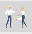 woman holding board with charts and graphs and man vector image vector image