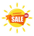yellow sun with text summer sale isolated on vector image