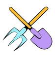 shovel and pitchfork icon cartoon vector image