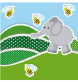 color mountains with bees and elephant icon vector image
