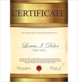Golden certificate template vector image
