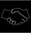 business handshake white color path icon vector image