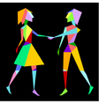 Abstract polygon couple holding hands vector image vector image