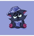 Black cat drowsy vector image vector image
