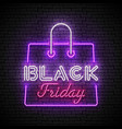 black friday red and white neon sign with purple vector image