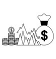 business money bag coins chart report vector image vector image