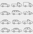 cars vans and truck line icons vector image
